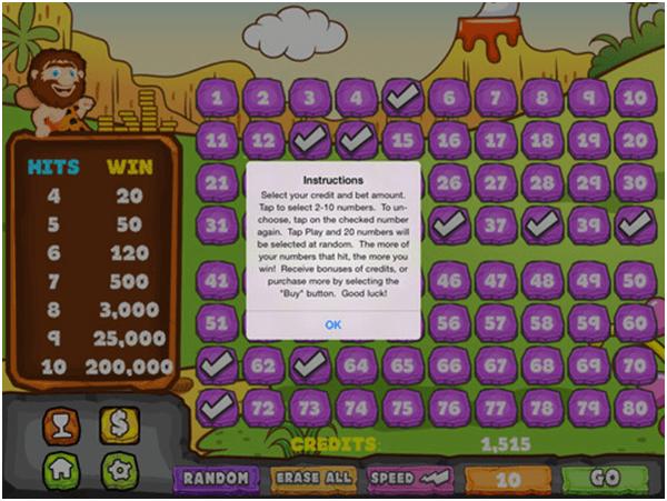 Play caveman keno online for free