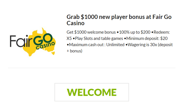 Fair Go Welcome Bonus