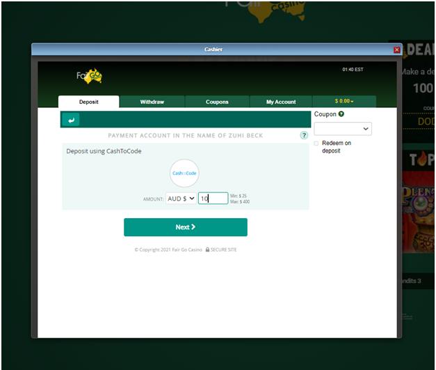 Fair go casino - Cash to code deposits