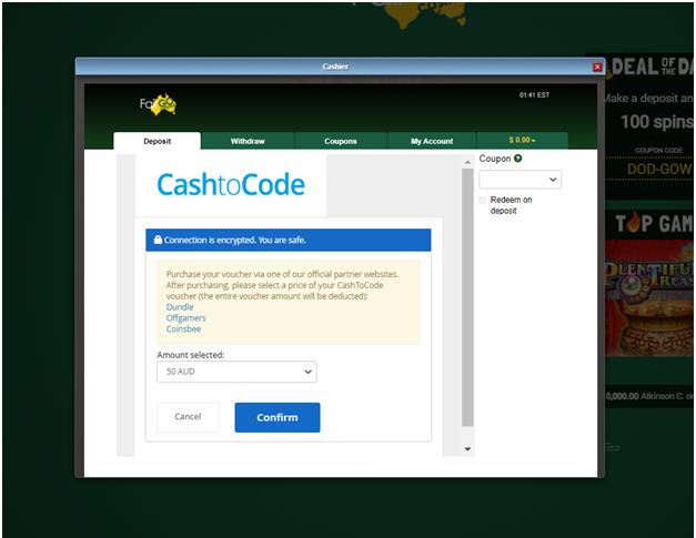 Fair go casino - Cash to code payment