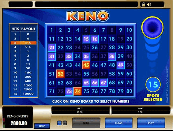 Keno Paytable