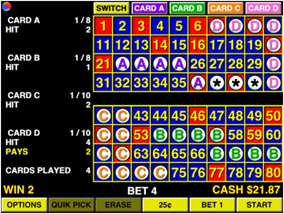 4 card keno winning numbers
