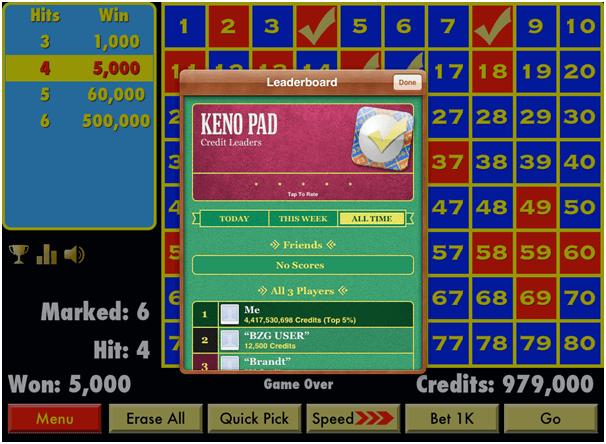 Keno Pad app