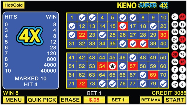 Keno Super 4 X- Game features