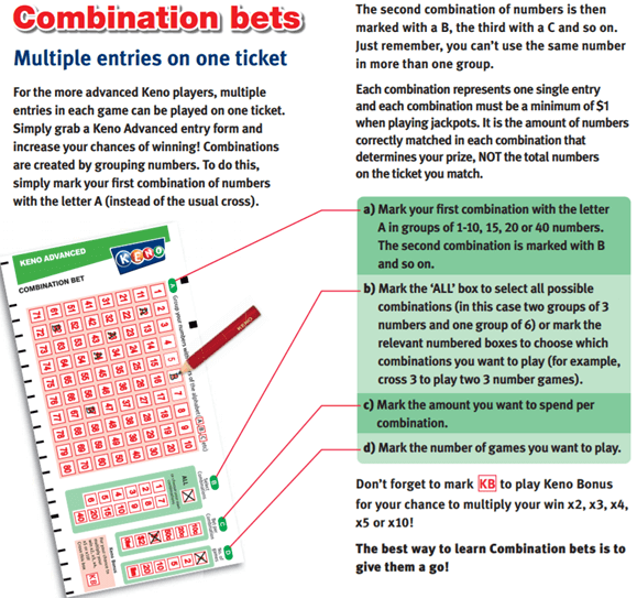 Keno advanced combination bet