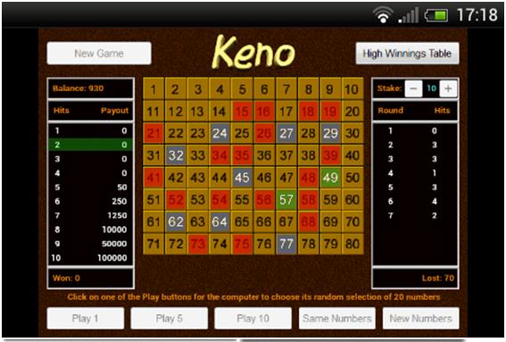 Keno app at Play store