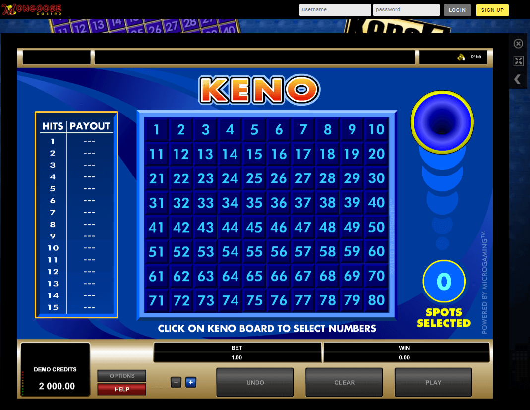Keno at mongoose casino