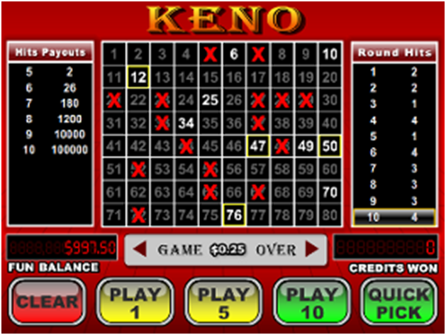 Keno odds to beat