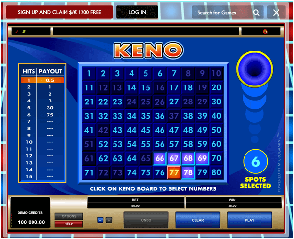 Online Keno at casinos