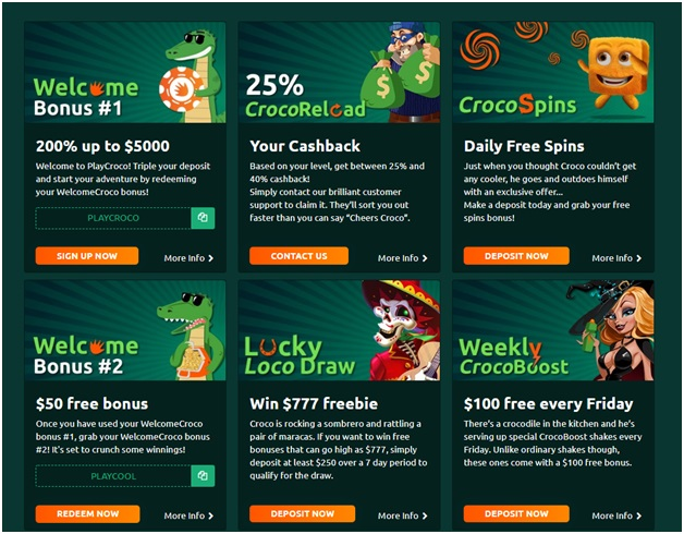 Bonus offers and coupon codes for Play Croco Casino