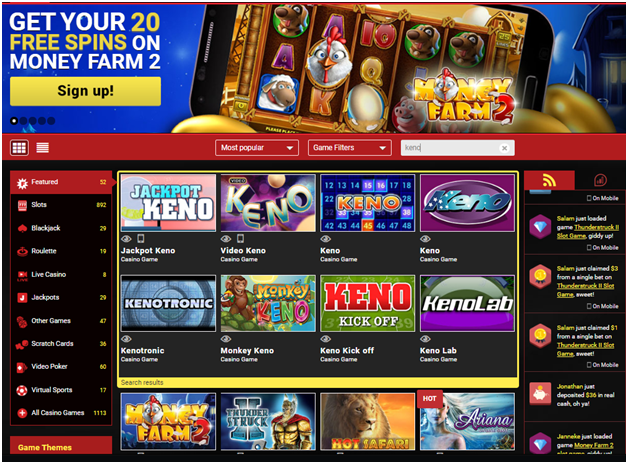 Play keno at Mongoose casino