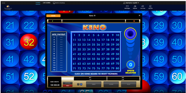 Playing Keno for free