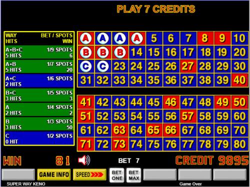 Probability to win keno