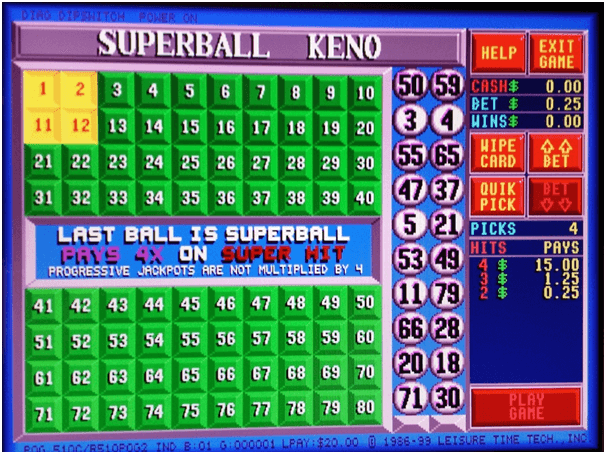 superball keno numbers