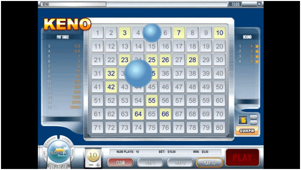 Keno game at online casinos