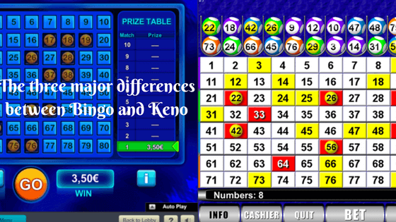 The three major differences between Bingo and Keno