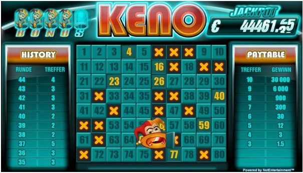 Six types of keno bets