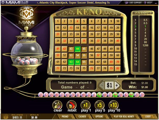WGS Keno game