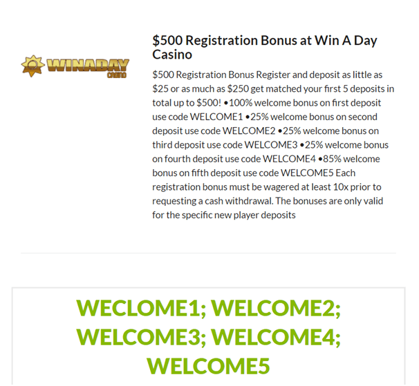Win A Day Welcome bonus