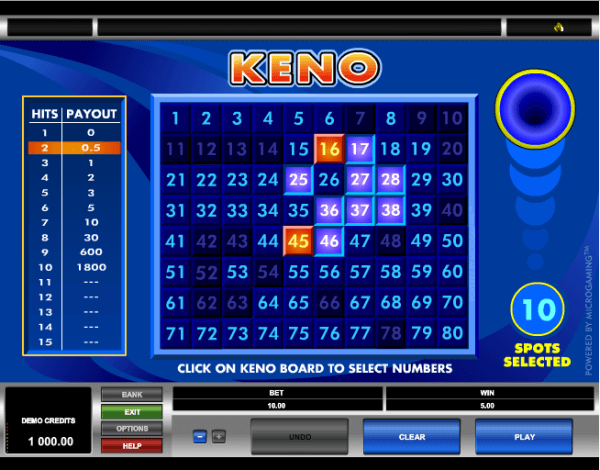 Keno PC Flash Game - Click to Play