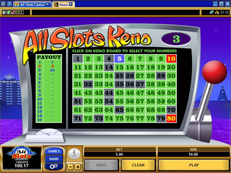 online casino keno slots